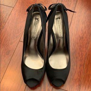 BCBGMAXAZRIA Sz7 1/2 Anya OpenToe Satin Lace Heels